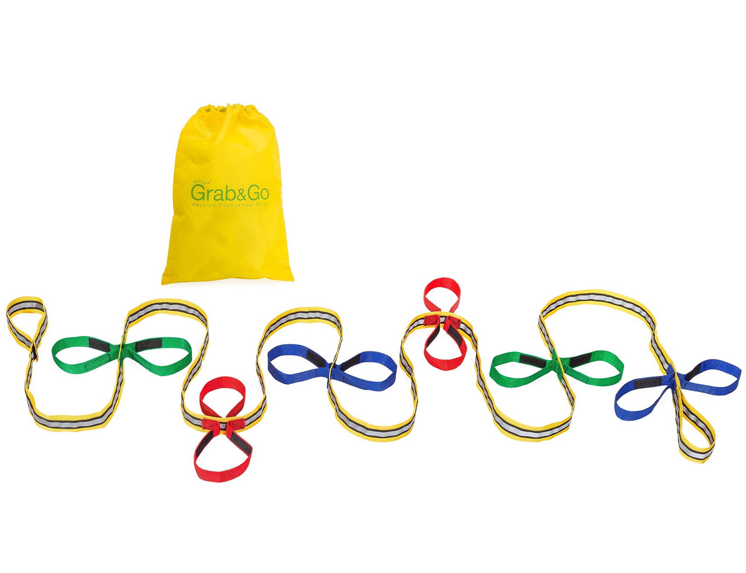 Grab & Go Children's Walking Rope (12 Child) with Safe Hi-Viz Details - Teacher Approved Safety Walk Ropes for Toddlers & Preschool Kids. Includes Free Learning Games for Walks Guide.