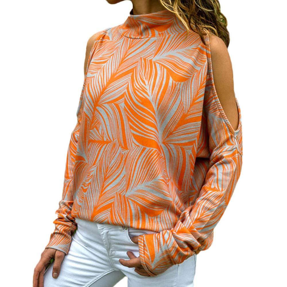 AMUSTER Damen Lange /Ärmel Schulterfreie Schulter Drucken Top Geometrisch Patchwork Blumendruck Jumper Tops Shirt Oberteile