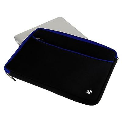 "15.6"" Travel Laptop Bag Carrying Case Sleeve Pouch for HP Envy / Samsung Odyssey / MSI GS63VR Stealth Pro / Toshiba Satellite / Tecra / Razer / Asus Aspire E5 / Lenovo Yoga (Black with Blue Trim)"