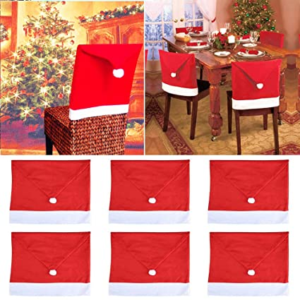 Stupendous Geenber Santa Hat Chair Covers Set Of 6 Pcs Santa Clause Squirreltailoven Fun Painted Chair Ideas Images Squirreltailovenorg