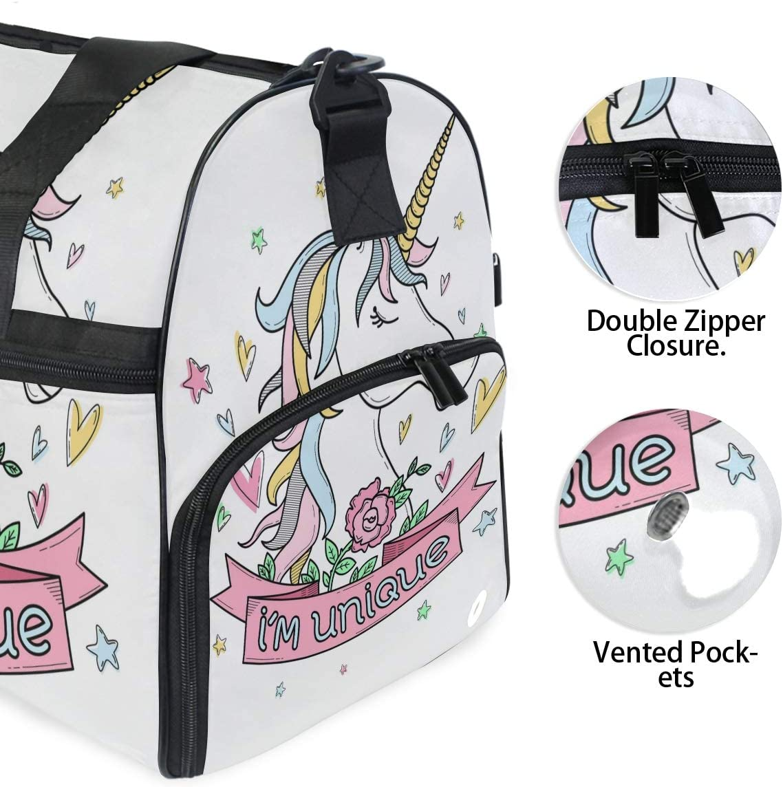 Unicorn And Flowers Sports Gym Bag with Shoes Compartment Travel Duffel Bag for Men and Women