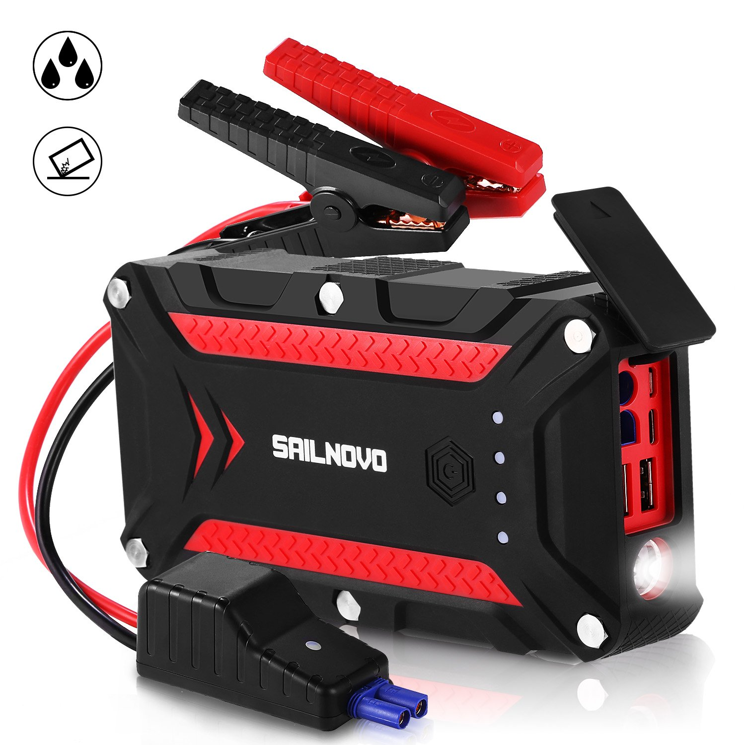 Sailnovo 1200A Waterproof Car Jump Starter(7.5L Gas & 6L Diesel Engine) With Dual USB QC3.0&PD Type-C, 12V Portable Auto Battery Booster Power Pack Phone Charger with Jumper Cables and LED Flahslight