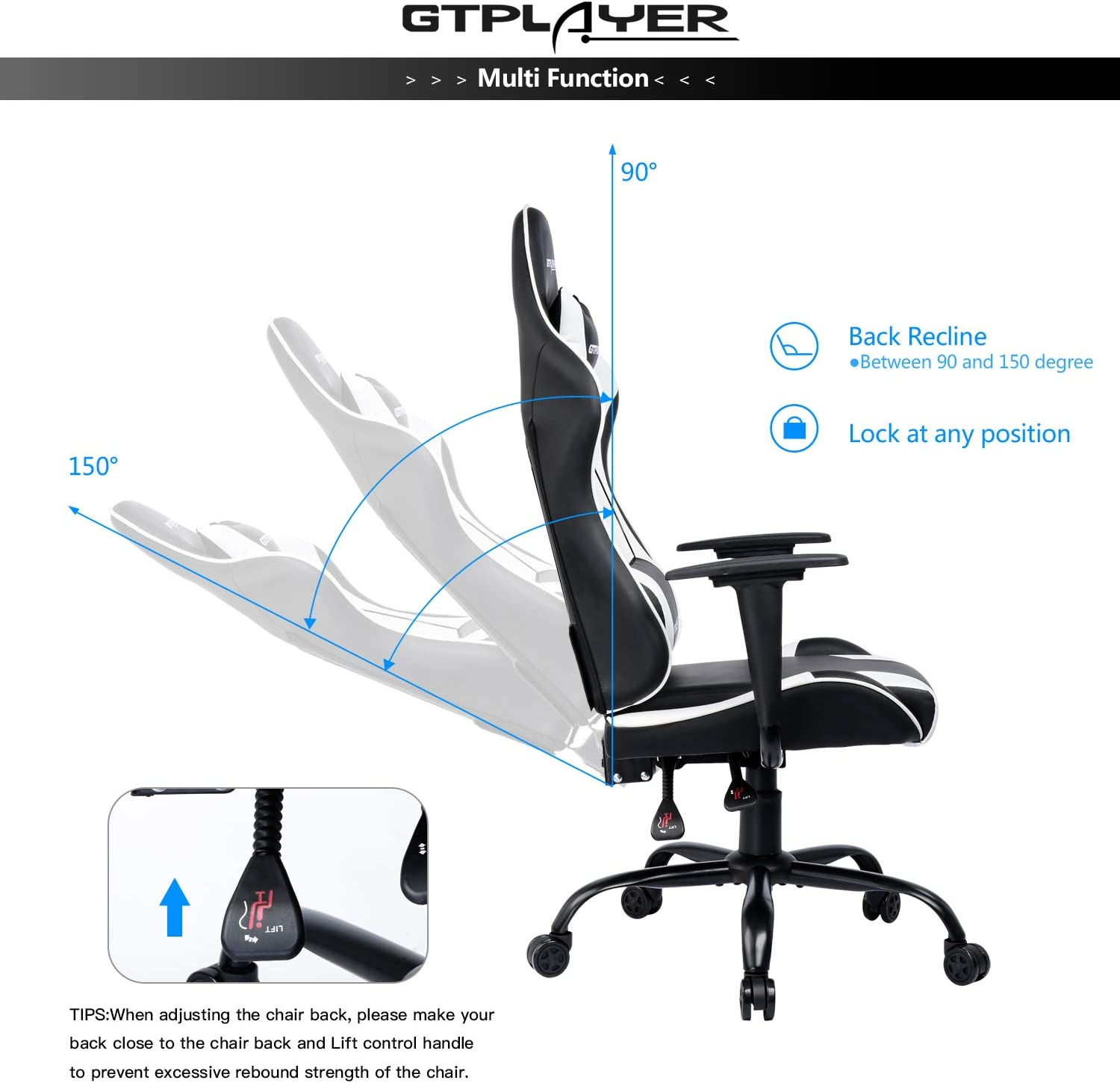 GTPLAYER Gaming Chair Office Desk Chair Swivel Heavy Duty Chair Ergonomic Design with Cushion and Reclining Back Support(White)