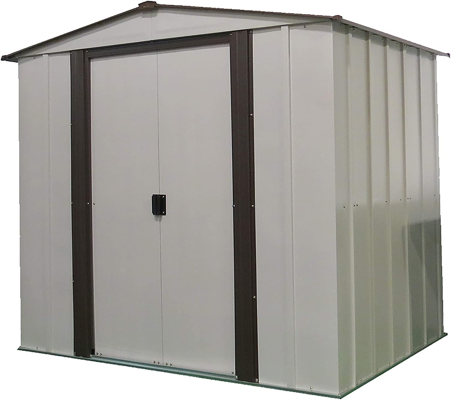 B016VZEBBG Arrow 6' x 5' Newburgh Eggshell with Coffee Trim Low Gable Electro-Galvanized Steel Storage Shed 71FMuHE9HGL