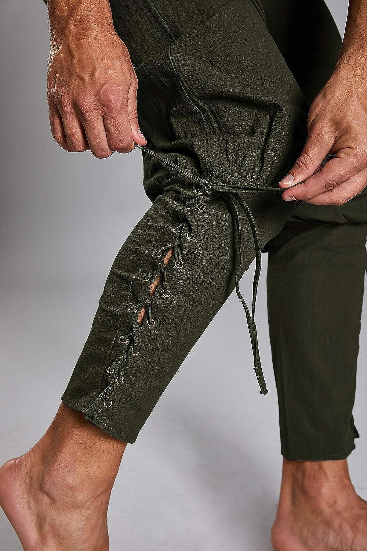 Enjoybuy Mens Renaissance Medieval Pants Steampunk Pirate Navigator Trousers Costume Cosplay Pants