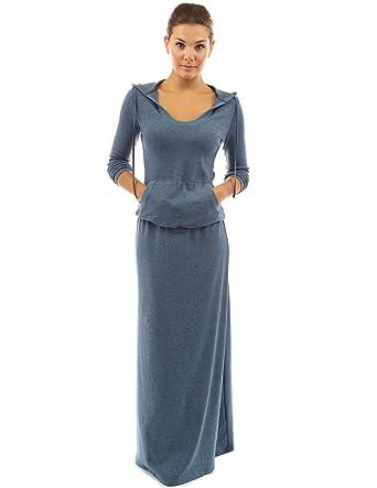 PattyBoutik Damen Maxi Kleid mit Kapuze und Taschen (blau meliert 36 S) 7e06f7e534