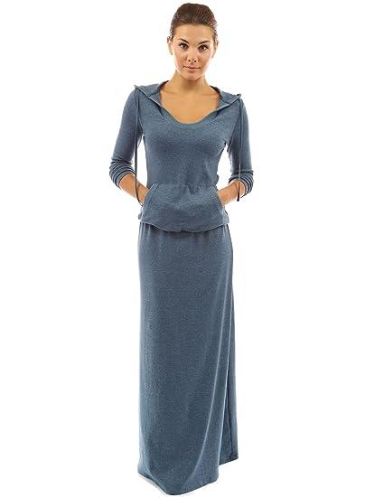 9ae283161f4 PattyBoutik Damen Maxi Kleid mit Kapuze und Taschen  Amazon.de  Bekleidung