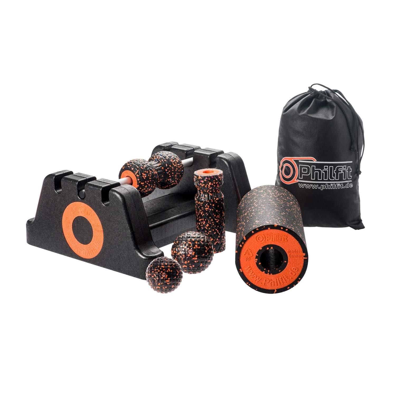 PHILFIT Classic Set Medium, schwarz Orange mit Boden- und Wandhalterung