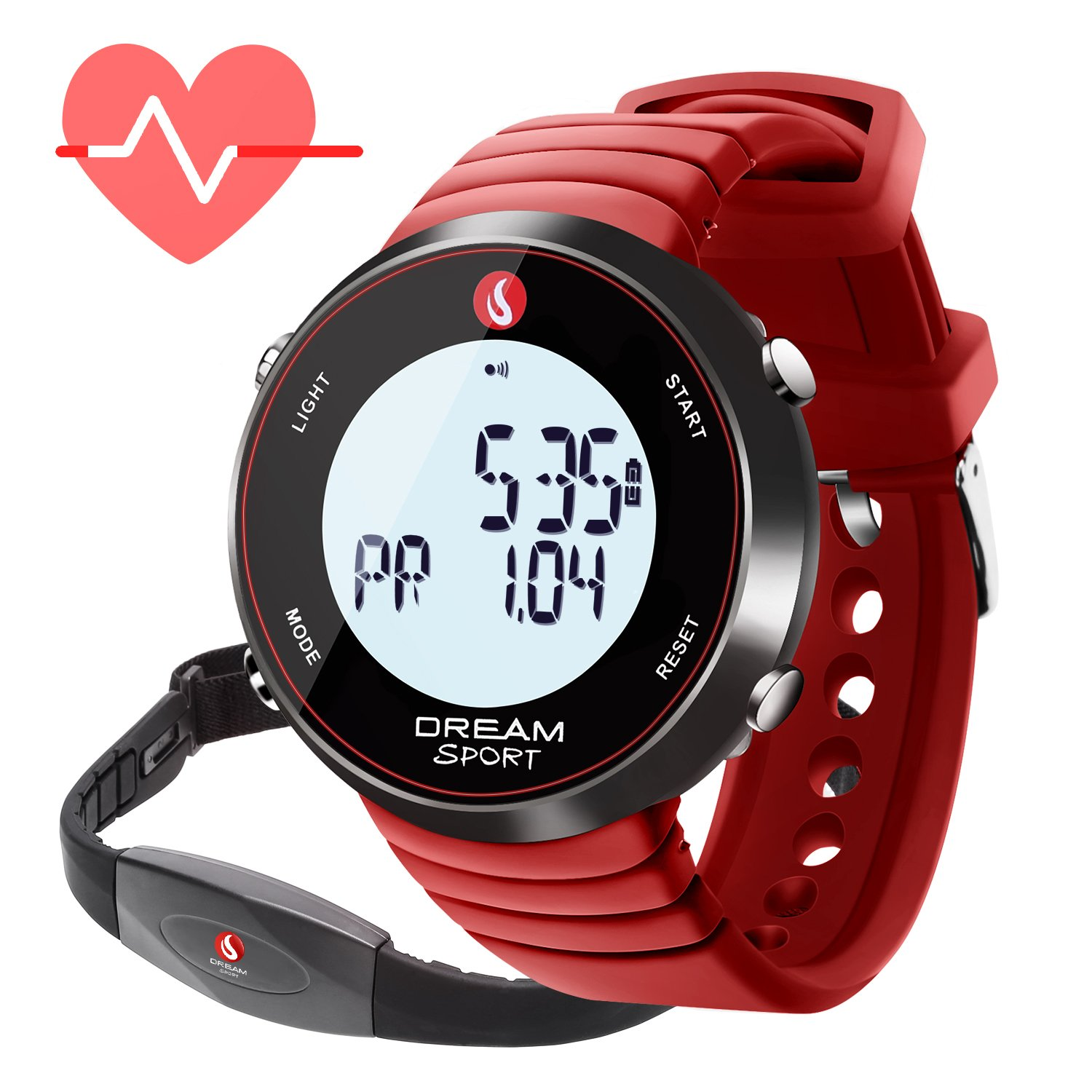 dreamsport Fitness Tracker, Heart Rate Monitor Watch with Chest Strap and Stopwatch/Alarm/Calorie Counter/7 Days Memory/BMI/30M Water Resistant (088-Red)
