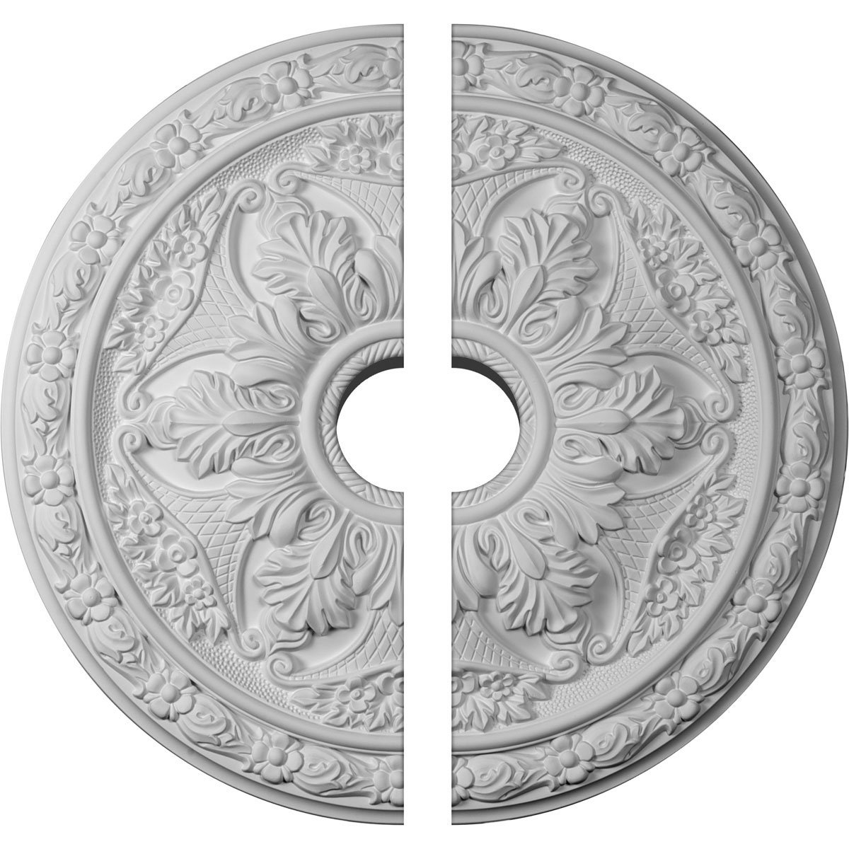 Ekena Millwork CM20BL2-03500 20'' OD ID x 1 5/8'' P Baile Ceiling Medallion, Two Piece (Fits Canopies up to 3 1/2''), Factory Primed and Ready to Paint