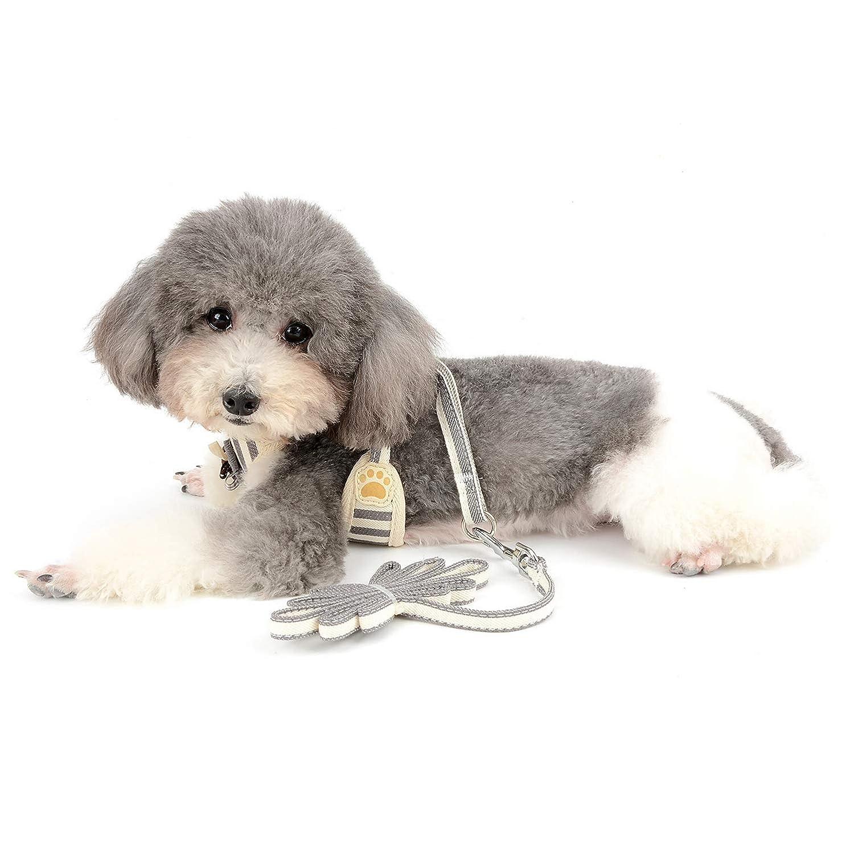 SELMAI Arn/és del Perro y Juego de Correa Franja de Malla Flor Bowknot No Pull F/ácil de Collar para Cachorros Chihuahua Ni/ñas Caminando al Aire Libre,Rojo,S
