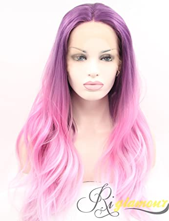 Amazon.com   Riglamour Long Pink Wig Purple Roots Ombre Cosplay Lace Front Synthetic  Wigs for Girls and Women Heat Resistant 100% Fiber Hair Natural ... fa6199b42