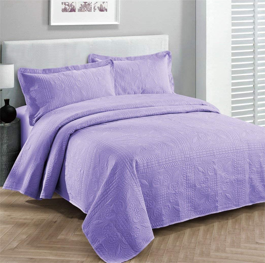 Full//Queen 3pc Oversized Luxury Bedspread Coverlet Set Solid Lavender