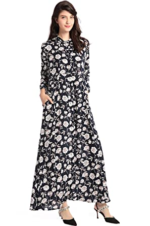 9b64c8069d8 BAYA Fashion Women Long Sleeve Dress Floral Print Vintage Maxi Dress  Vestidos de Festa Muslim Robe Kaftan  Amazon.co.uk  Clothing