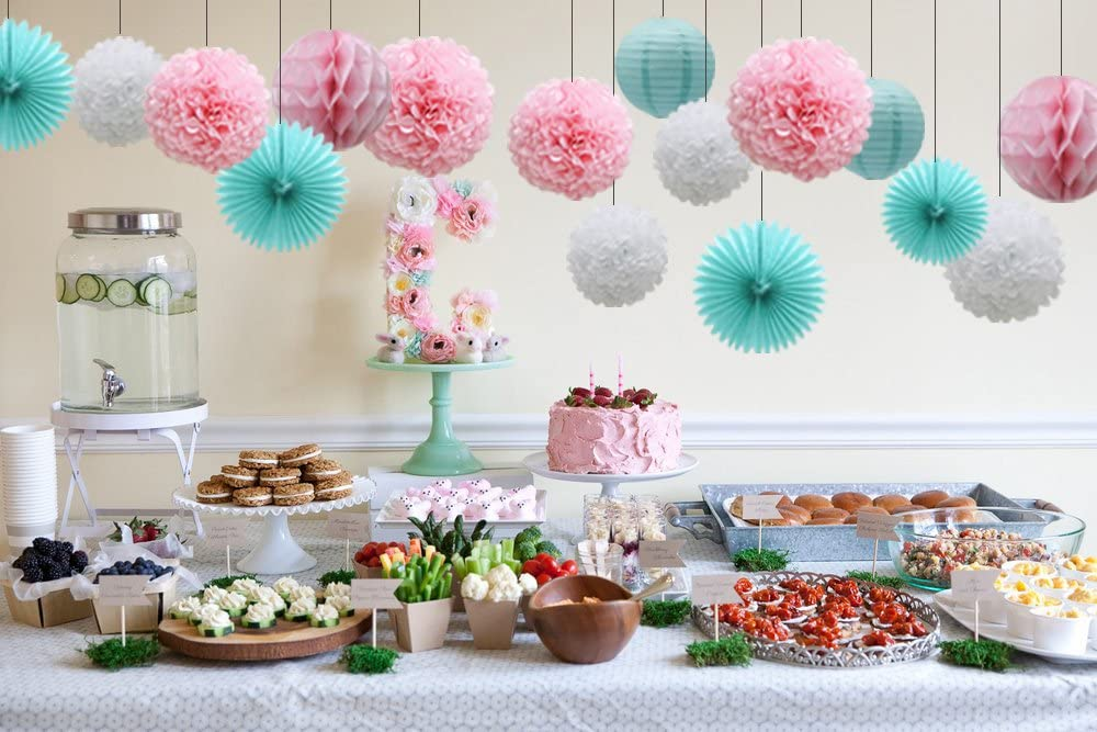 Mermaid Party Decorations 16pcs Teal Lavender Purple Pink Paper Pom Poms Honeycomb Balls Blue Lanterns Tissue Fans for Wedding Birthday Baby Shower Frozen Party Supplies