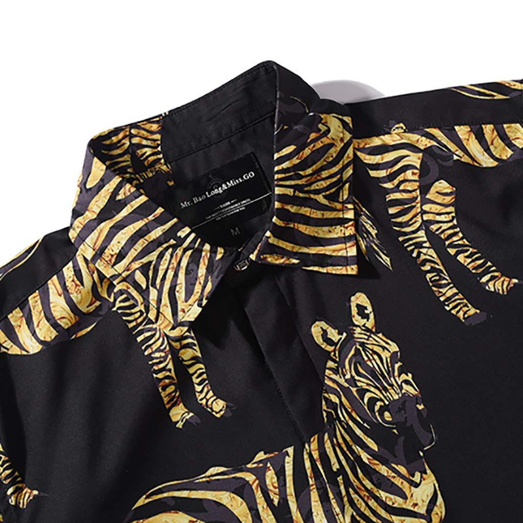 YKARITIANNA Personality Mens Summer Casual Short Sleeve Printed Shirt Tops Blouse