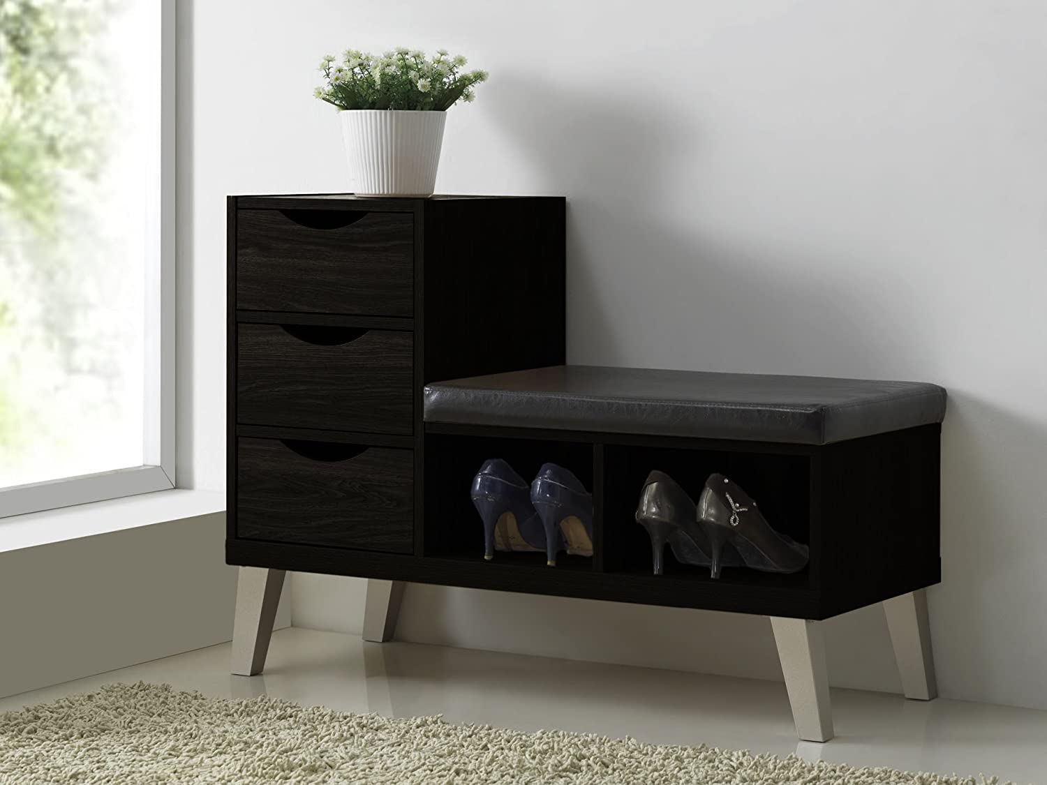 Amazon.com: Baxton Studio Arielle Modern Contemporary Wood 3 Drawer Shoe  Storage Padded Leatherette Seating Bench With Two Open Shelves, Dark Brown:  Kitchen ...