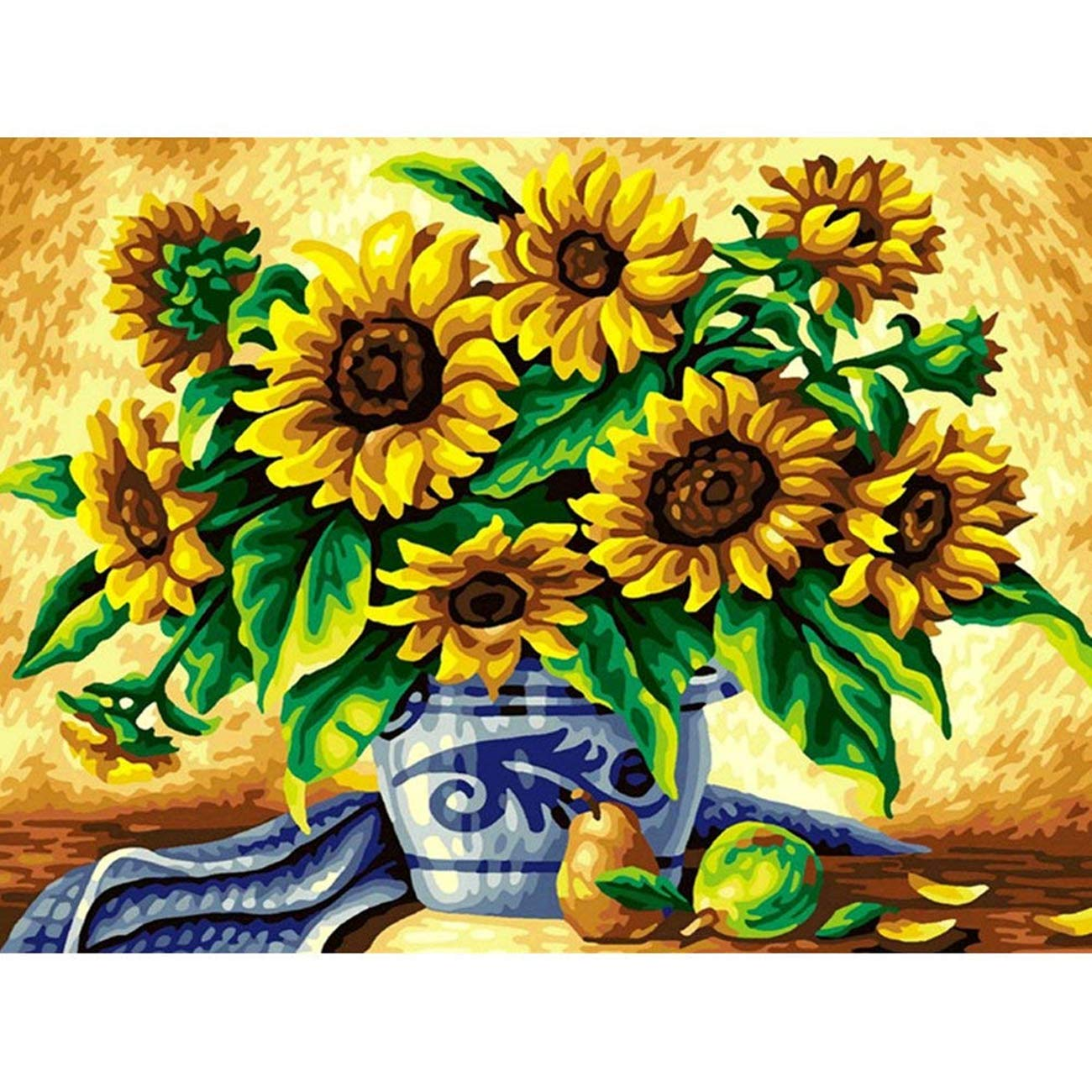 AIRDEA 5D Diamond Painting by Number Kit, Full Drill Sunflowers Vase Rhinestone Embroidery Cross Stitch Supply Arts Craft Canvas Wall Decor 13.8x17.8 inch