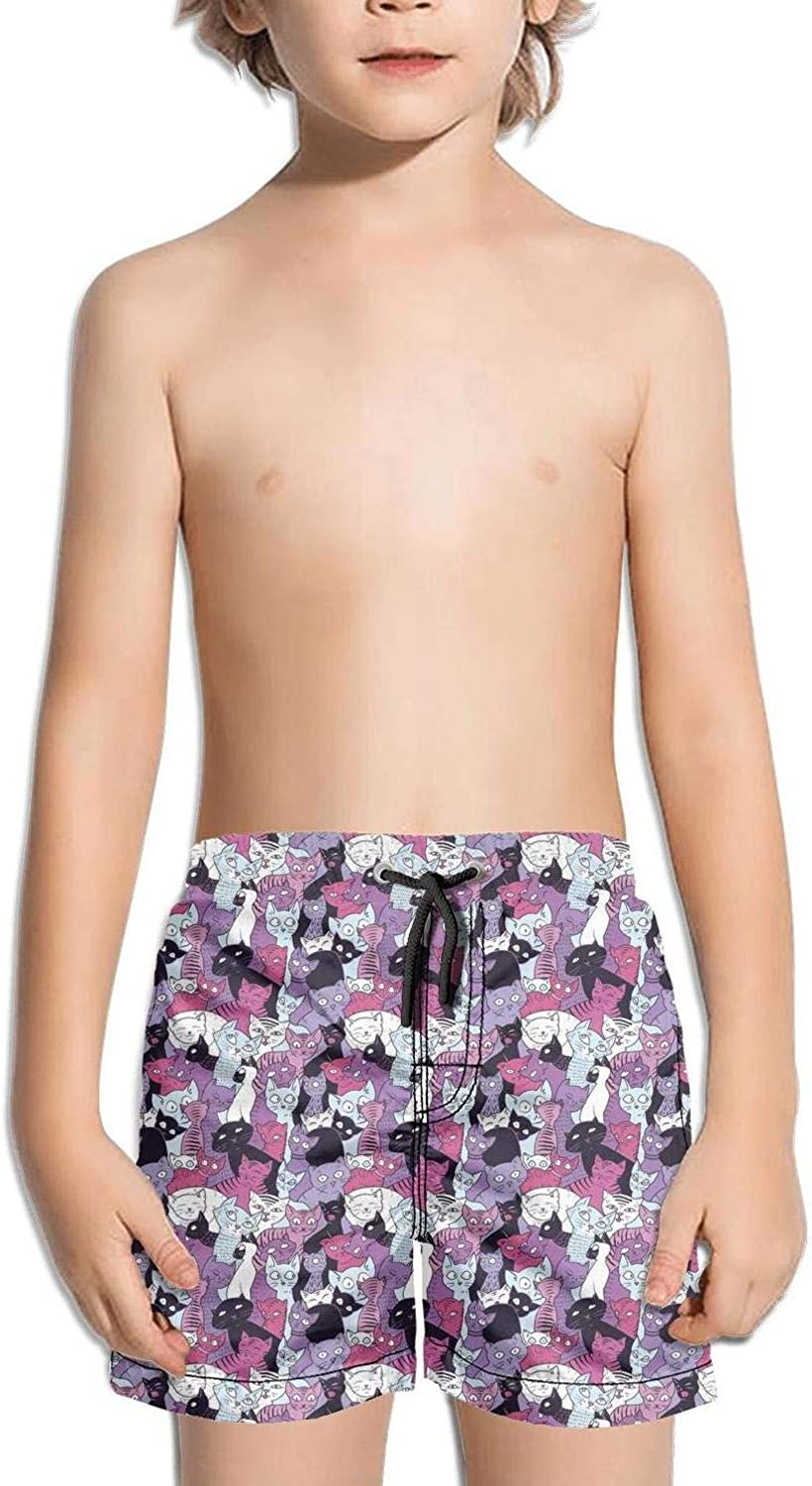 Colorful Cat Party Art Kids Board Shorts OutdoorStretchfloral Shorts Beachshorts