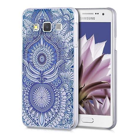 kwmobile Funda para Samsung Galaxy A3 (2015) - Carcasa de [plástico] para móvil - Protector [Trasero] en [Azul/Blanco]