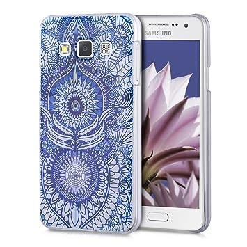 kwmobile Funda para Samsung Galaxy A3 (2015) - Carcasa de plástico para móvil - Protector Trasero en Azul/Blanco