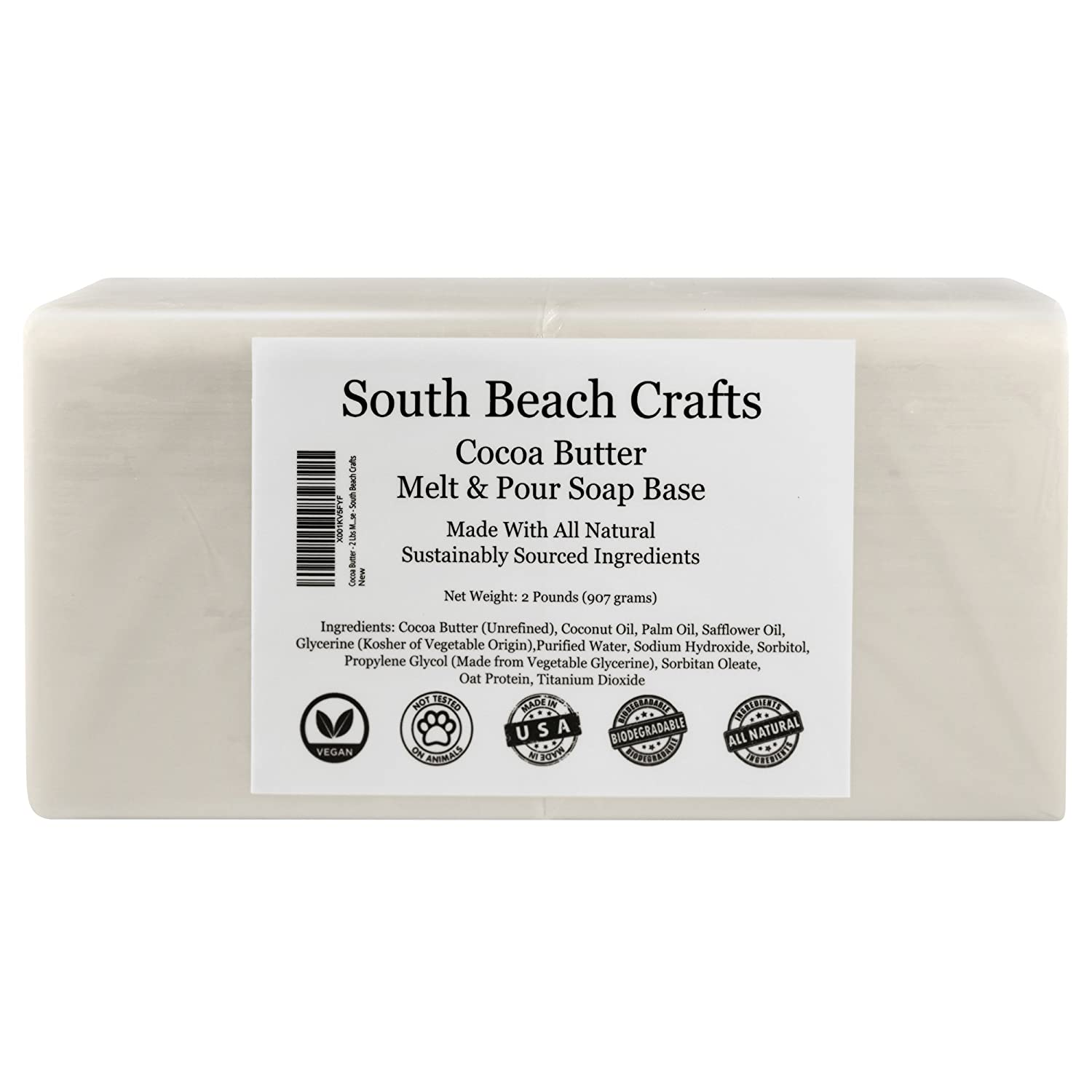 Cocoa Butter - 2 Lbs Melt and Pour Soap Base - South Beach Crafts SOBE-107