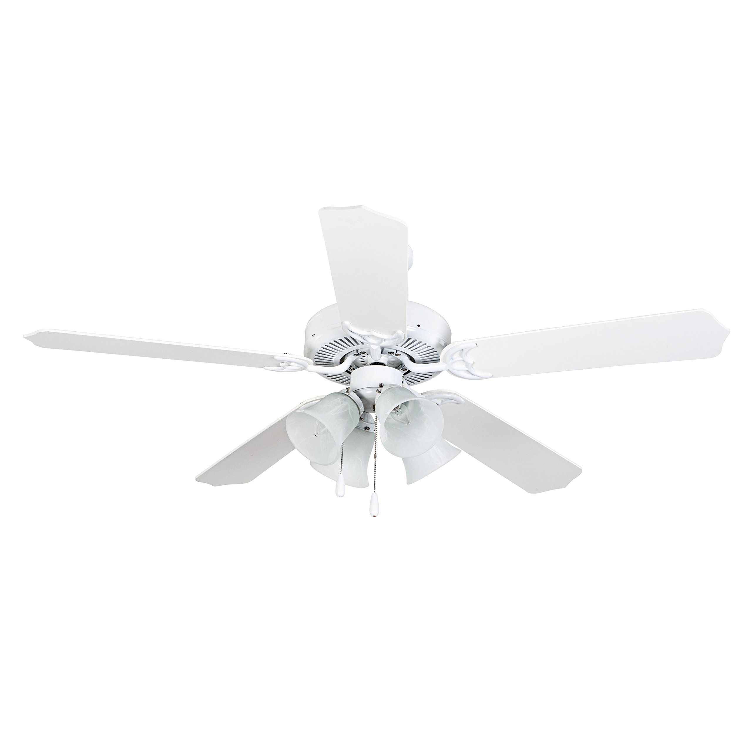 Yosemite Home Décor WESTFIELD-WH-4 Westfield Collection 52'' Indoor Ceiling Fan, White Finish