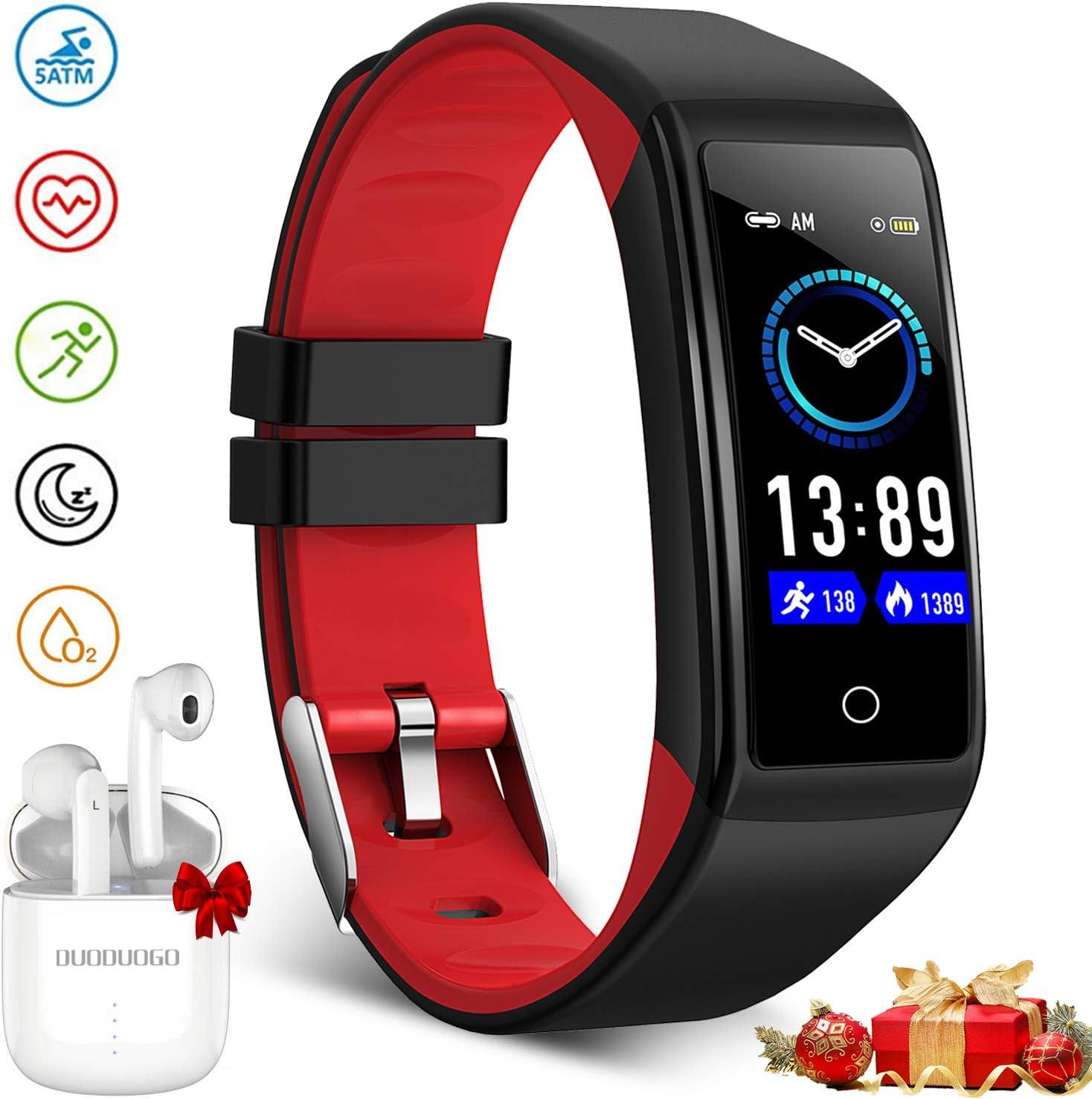 DUODUOGO H3 Reloj Inteligente Mujer y Hombre, Reloj Smartwatch Impermeable IP68 Pulsera Actividad Deportivo con Monitor de Sueño Pulsómetro Reloj Compatible con Android y iOS (Rojo)