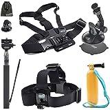 EEEKit Accessories Kit for GoPro HERO 5 4 3+,AKASO EK7000/EK5000,APEMAN,VicTsing,Veho MUVI Action Camera,Selfie Stick,Car Mount,Head/Chest Strap,Floaty Grip Handle Pole