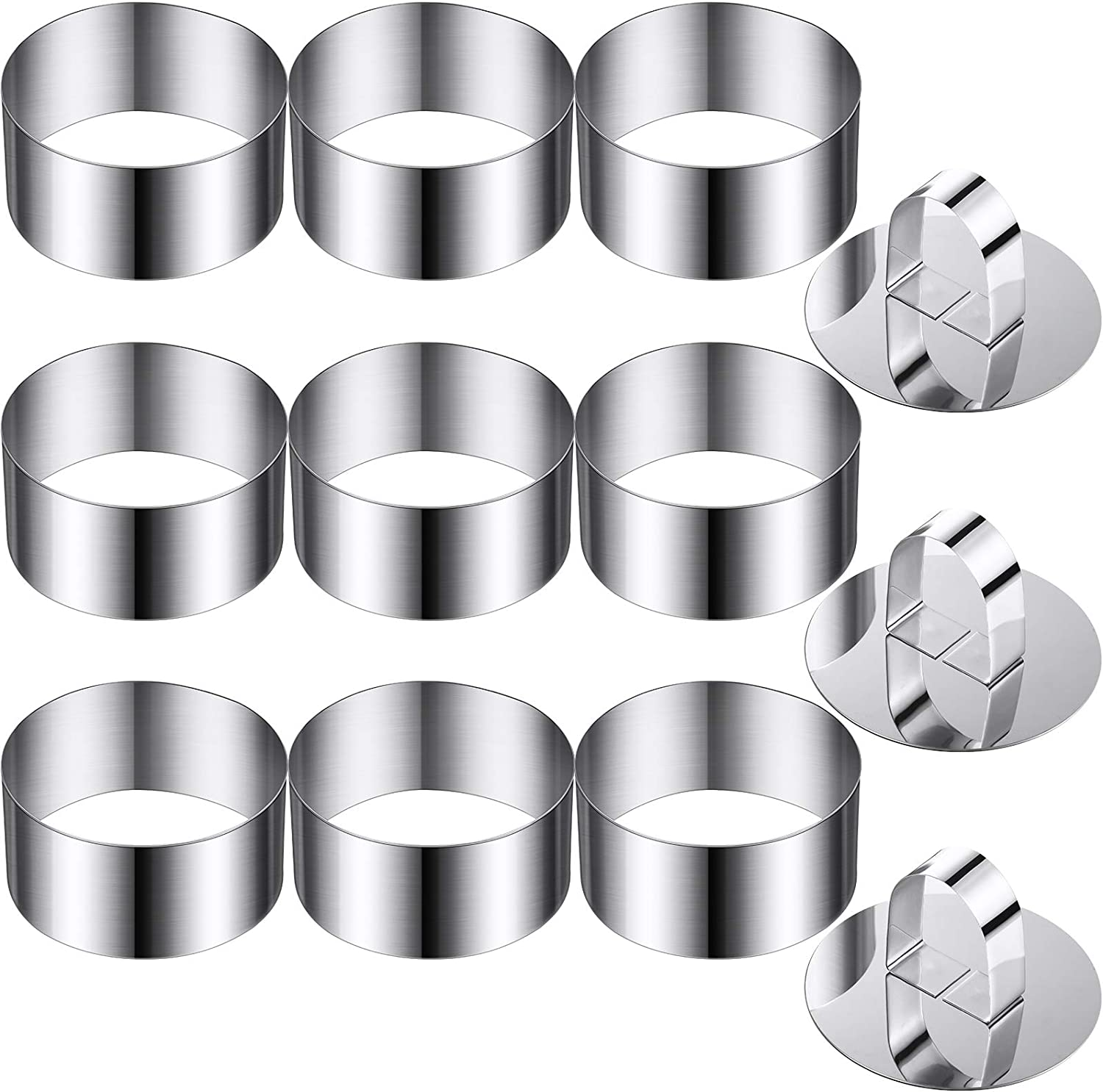12 Pieces Round Cake Mold Stainless Steel Cake Mousse Mold Cake Ring Including 3 Pieces Pushers, 3.15 Inches Diameter