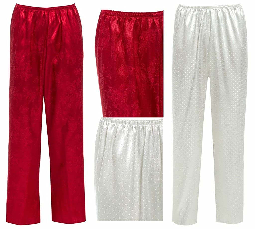 Ladies Satin Bottoms Pants Lounge ORIENTAL Red Ivory White Silky Pyjama  Trouser Floral Chinese Japanese Style  Amazon.co.uk  Clothing cf7da32ea