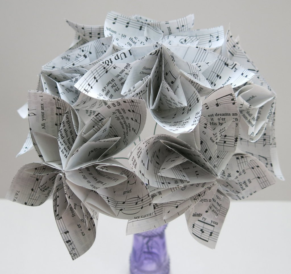 6 Hymnal Kusudama Flowers, 4'' Flowers on Stems, Christian Song Book Pages, Popular Lily Origami Floral Bouquet by Always In Blossom