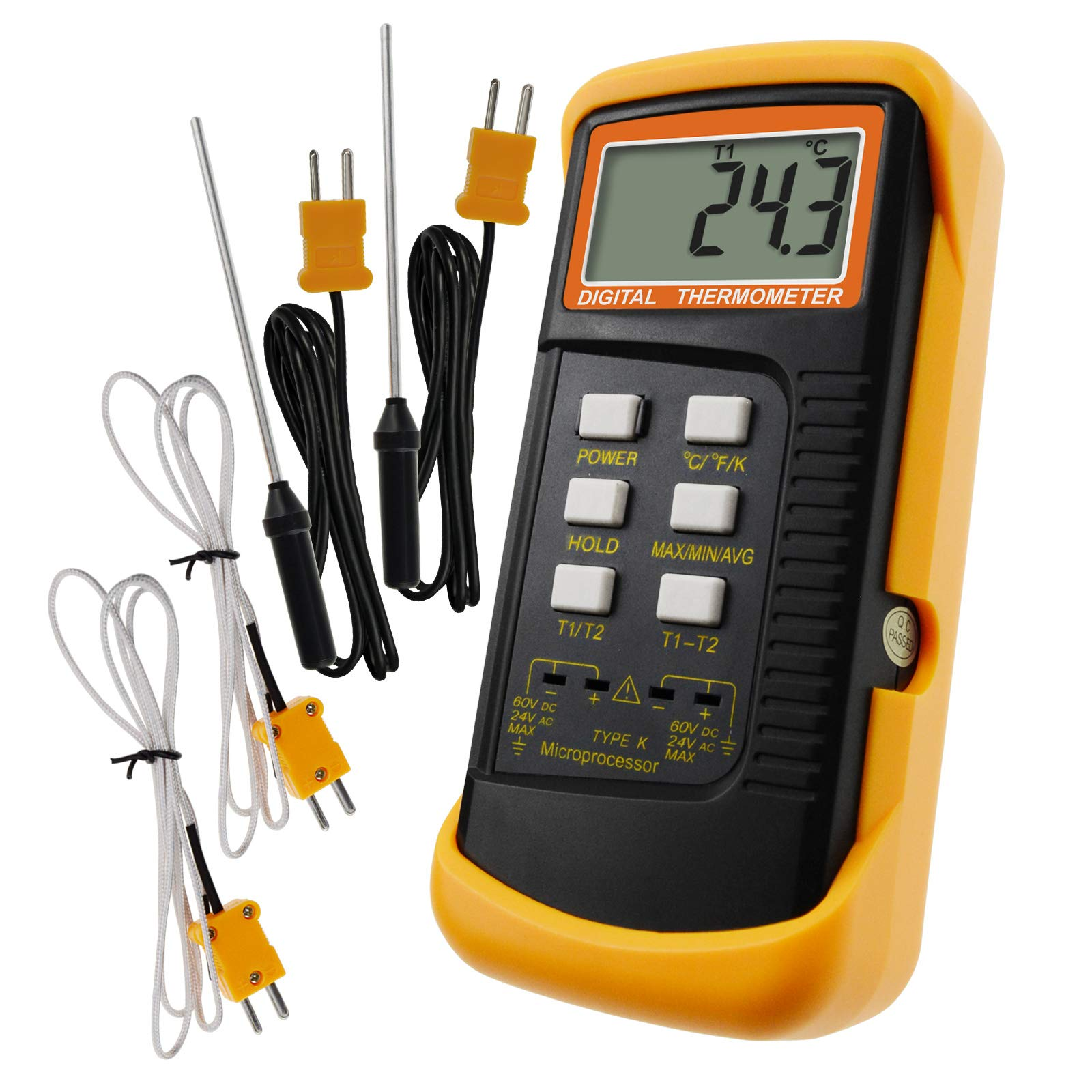 Digital 2 Channels K-Type Thermometer w/ 4 Thermocouples (Wired & Stainless Steel), -50~1300°C (-58~2372°F) Handheld Desktop High Temperature Kelvin Scale Dual Measurement Meter Sensor
