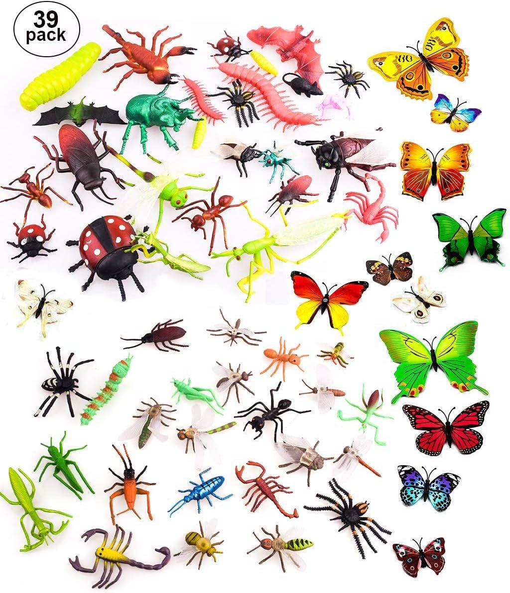 OOTSR 39pcs Insectos e Insectos de plástico para niños, Figuras de Insectos Juguetes con Pegatina de Pared Colorida Mariposa para educación/Juguetes de Halloween/Fiestas temáticas/Regalos cumpleaños