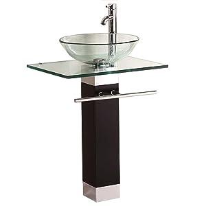 QIERAO Bathroom Vanity Set Tempered Glass Pedestal Sink