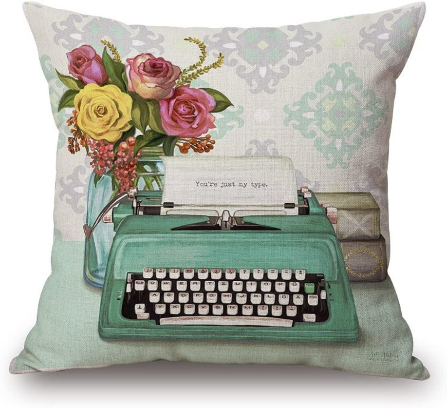 Easternproject Vintage Flower Typewriter Book Pattern Square Throw Pillow Case Decorative Cushion Cover Pillowcase 18x18 Inches for Home Sofa Couch Decor