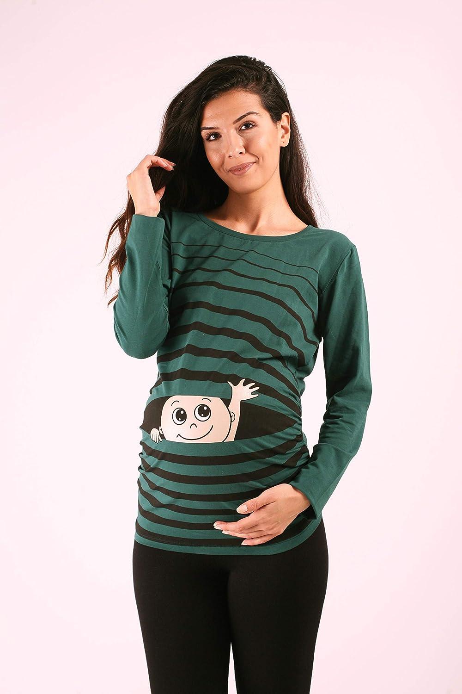 Ciao Ciao M.M.C Maniche Lunghe maternit/à Premaman Abbigliamento Donna Magliette Premaman T-Shirt Divertente Gravidanza