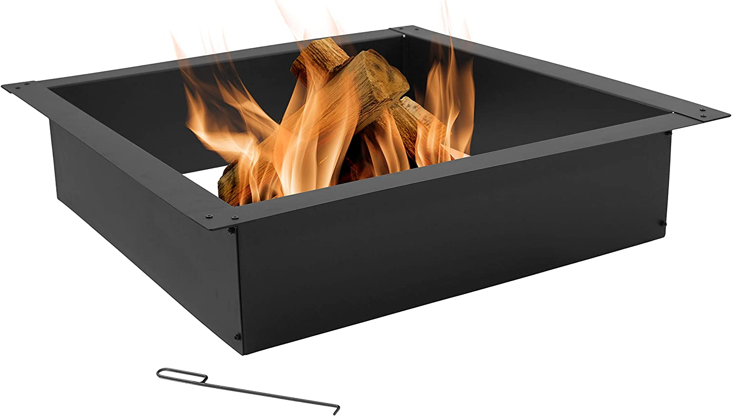 Amazon Com Sunnydaze Fire Pit Ring Outdoor Large Square Insert Diy Firepit Rim Liner Above Or In Ground Heavy Duty 2 0mm Steel 42 Inch Square Outside X 36 Inch Square Inside