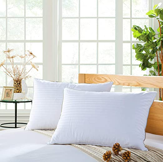 Quilted or Plain Bed Pillows Luxury Soft Super firm Pillows Egyptian Stripe