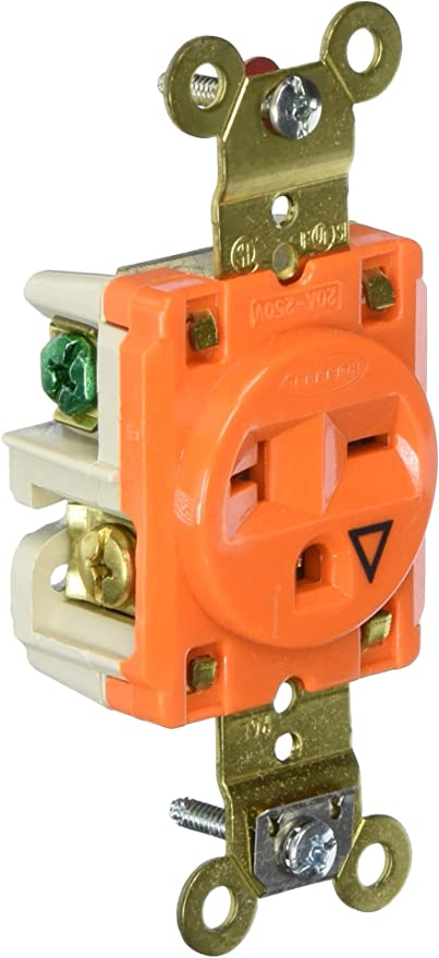 Hubbell IG5261 Orange Industrial Isolated Ground Single Outlet Receptacle 15A