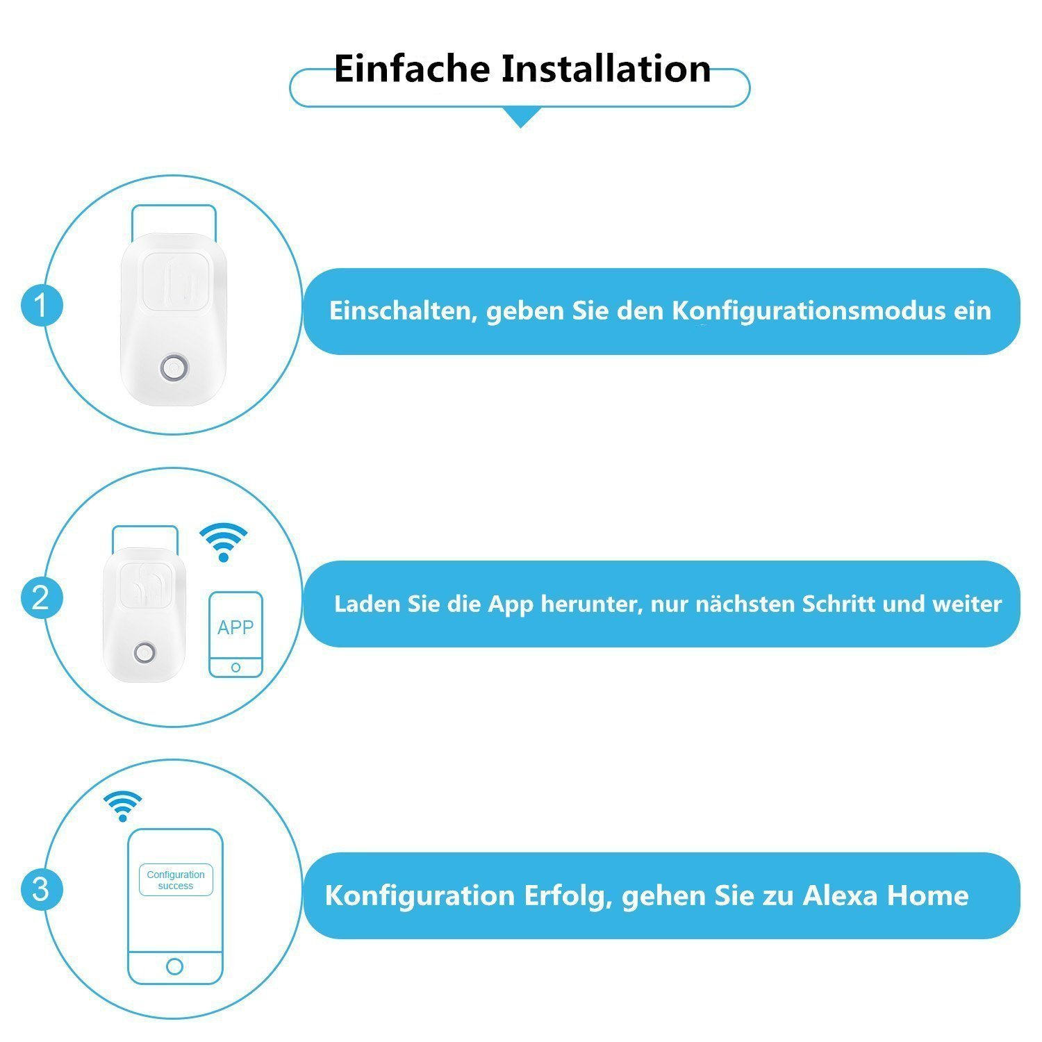 DoubleLucky intelligente WI-FI Steckdose(EU),funktioniert mit Amazon ...