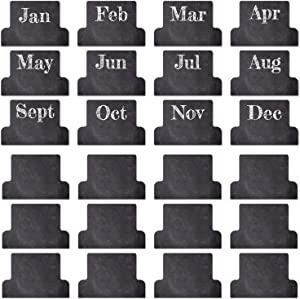48 Adhesive Tabs Designer Accessories Monthly Tabs Planner Stickers Decorative Monthly Index Tab for Office Study Planners Organizations, Journal and Notebook (Blackboard)