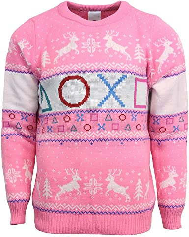 Pink Christmas Jumper with red, blue, and white playstation symbols