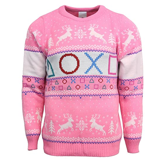 Official Playstation Pink Christmas Jumper / Ugly Sweater - (UK XL ...