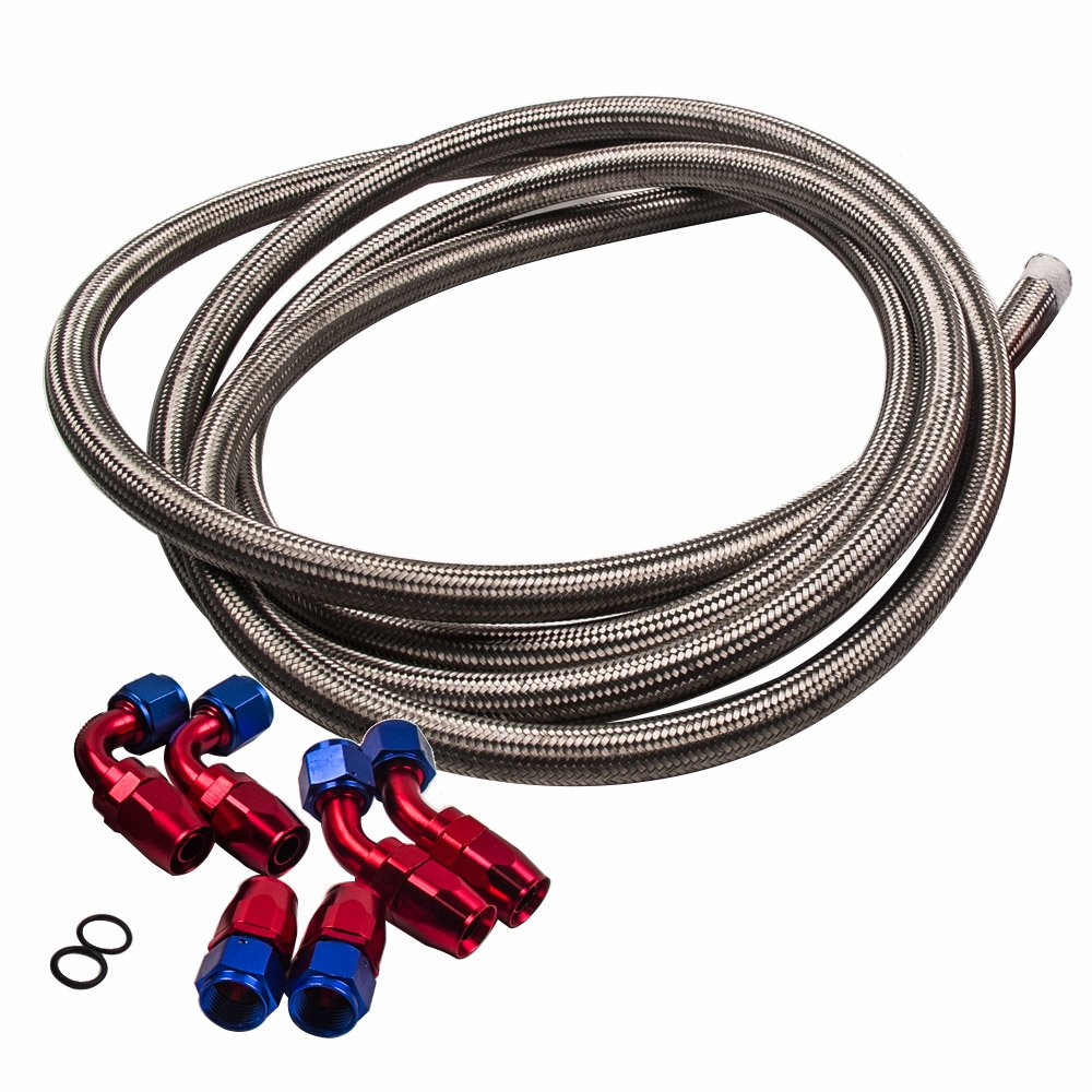 maXpeedingrods 10AN 12FT Oil Fuel Line Nylon Braided+ 6Pcs Hose End Fitting Kit AN10 12 Feet - Silver