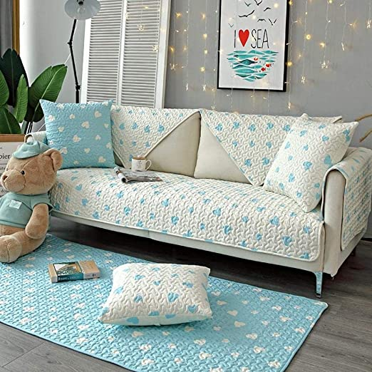 ABUKJM Fundas De Sofa Anti Gatos Arañazos,Funda de sofá de algodón cojín de sofá de Sala de Estilo nórdico Cuatro Estaciones Universal 1PCS @ g corazón Azul White_90 * 240cm(1PCS): Amazon.es: Hogar