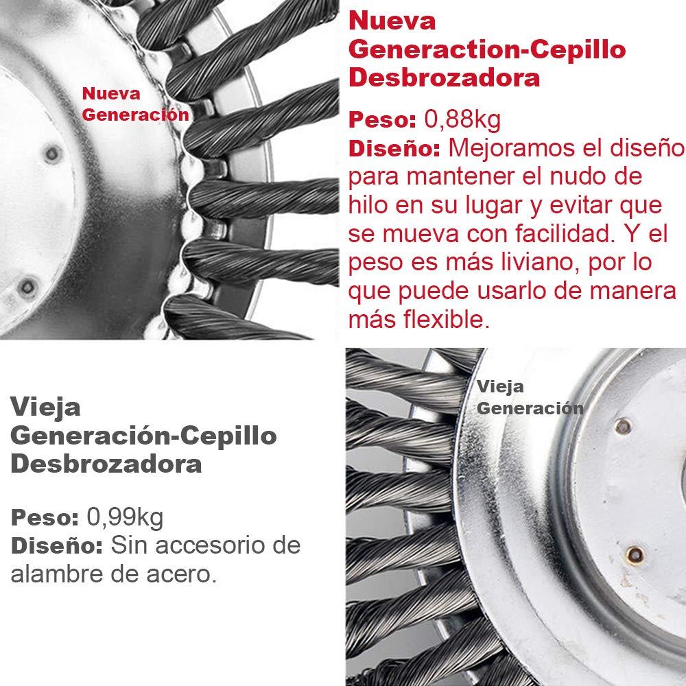 8 Cepillo redondo desbrozadora para C/ésped Actualizado Nuevo Modelo Cabezal de Corte de Hierba de Alambre de Acero Cepillo desbrozadora de 200 x 25,4 mm