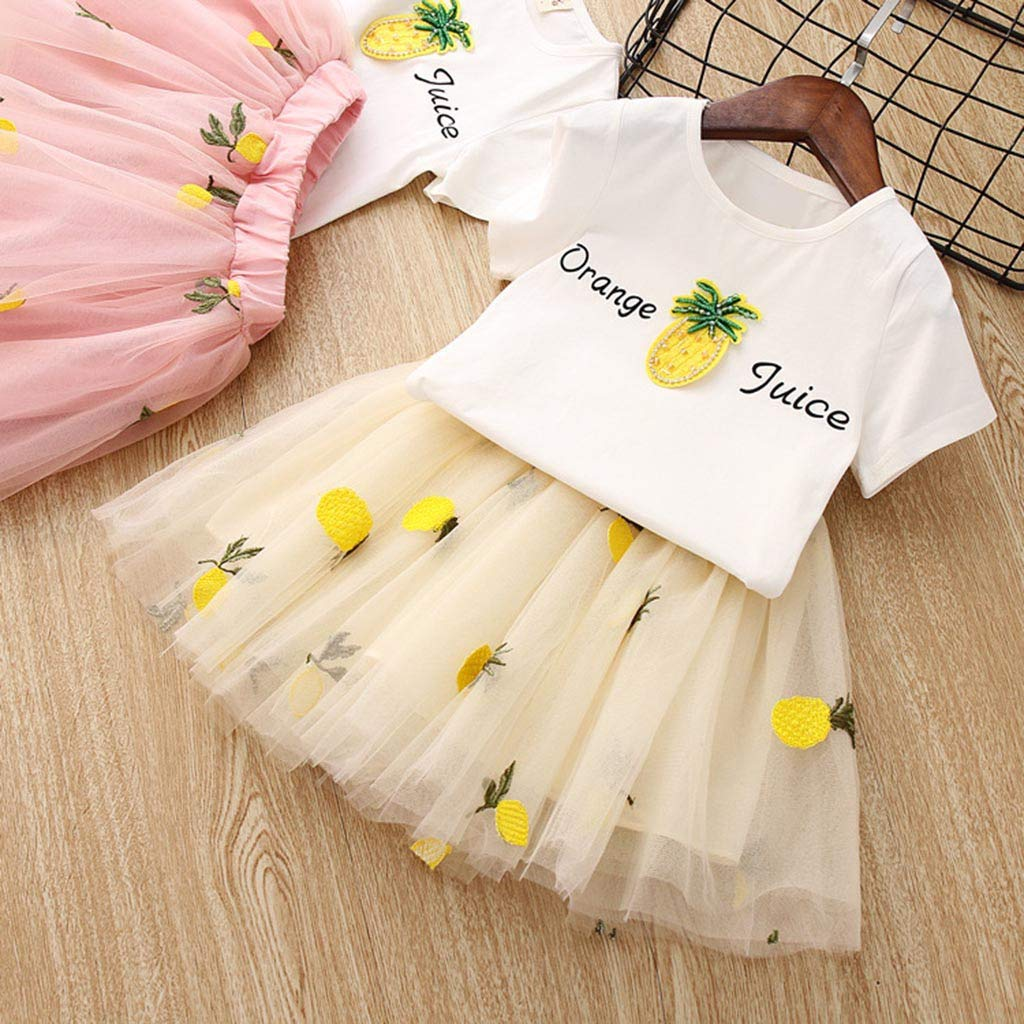 Baby Girls Dress 2pcs Set, Toddler Short Sleeve Tops T-Shirt+Pineapple Tutu Skirt Outfits Clothes (3-4 Years, Yellow) by Hopwin Baby girls Suits (Image #3)