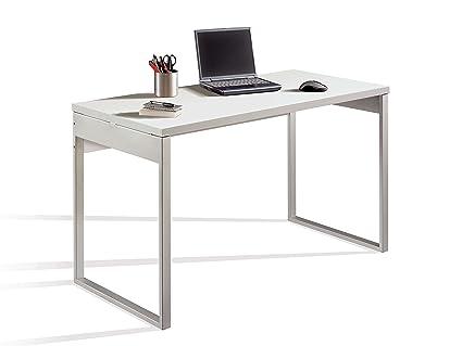 Abitti Escritorio Mesa de Ordenador Multimedia Color Blanco Brillo, Patas metálicas y Tapa Gruesa 35MM para Oficina, despacho o Estudio. 130cm Ancho x ...