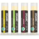 Lip Balm - 4 Pack - La Lune Naturals USDA Certified Organic Lip Balm, Natural Beeswax Lip Balm - Vanilla Bean, Raspberry, Asian Pear, Peppermint - MADE IN THE USA - Best Lip Balm for Kids & Babies